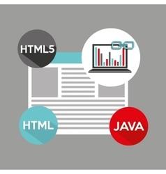 Laptop graphs language code link web vector