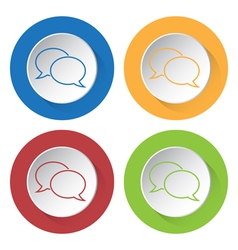 Four round color icons outline speech bubbles vector