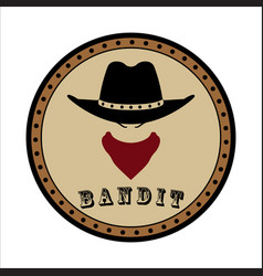 Round emblem sheriff head in hat and scarf vector