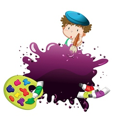 A young boy painting vector