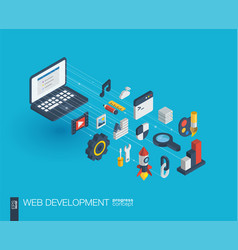 Web development integrated 3d icons growth and vector