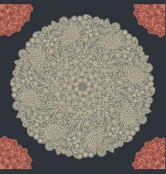 vintage floral pattern round shape vector image