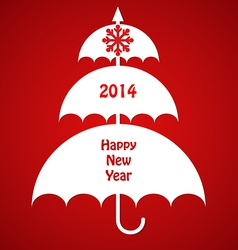 Christmas card with umbrellas vector