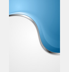 Blue abstract background with metal wave vector
