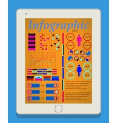 Male and female infographic set on tablet pc it vector