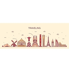 Traveling background skyline detailed silhouette vector