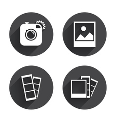 Photo camera icon flash light and landscape vector
