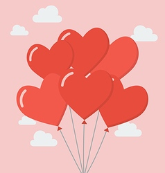 Group of heart balloons vector