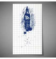 A hand-drawn big ben tower vector