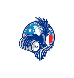 American bald eagle beer keg flag circle retro vector