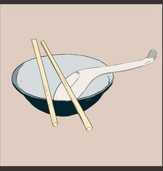 Bowl chopsticks and spoon vector