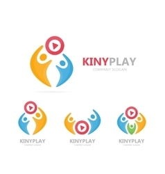 Button play and people logo combination vector