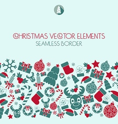 Christmas seamless border Christmas icons vector image vector image