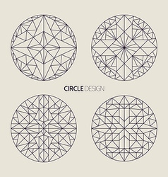 Circle symbol set in line art geometry style vector