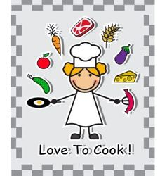 Cook and different food vector