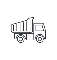 Dump truck thin line icon linear symbol vector