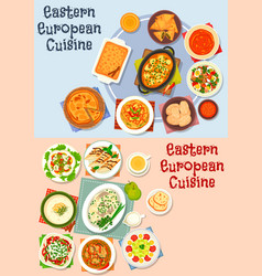 Eastern european cuisine icon set for food design vector