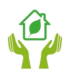 Ecological hands protecting isolated icon design vector image