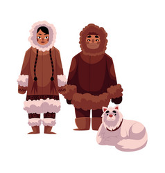 Eskimo inuit couple in warm winter clothes with vector