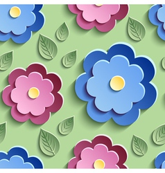 Floral seamless pattern with decorative 3d flowers vector