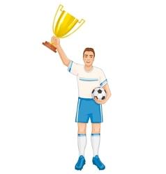 Footballer in uniform with winner cup eps10 vector image
