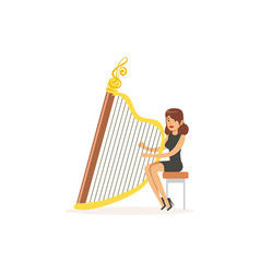 girl harpist performing musical composition vector image vector image