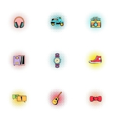 Hipster icons set pop-art style vector