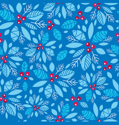 Holly berry blue red holiday seamless vector