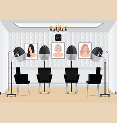 Hood hair dryer in beauty salon with poster hair vector