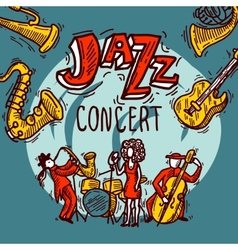 Jazz sketch poster vector