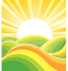 Landscape with yellow sun vector image