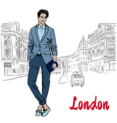 Man with tablet in london vector