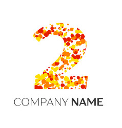 Number two with orange yellow red particles vector