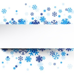 Paper card over blue snowflakes vector