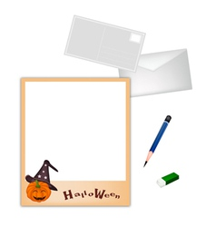 Pencil and envelope with jack-o-lantern pumpkin vector