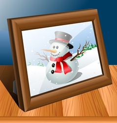 Photo frame on table vector image vector image