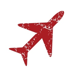 Red grunge plane logo vector