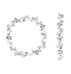 Round Christmas wreath with poinsettia isolated on vector image vector image