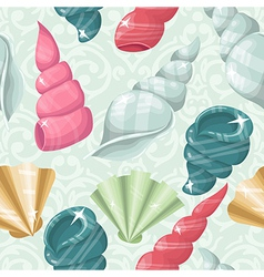 Seamless seashell background vector image