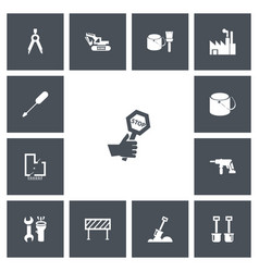 Set of 13 editable structure icons includes vector