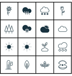 Set of 16 landscape icons includes sunflower vector