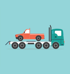 tow truck driven cars vector image