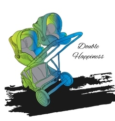 Colorfull double twin stroller vector
