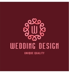 Letter W Wedding Design sign in the form of an vector image