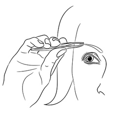 Woman plucking eyebrow on white background vector