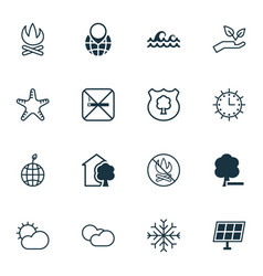 Set of 16 eco icons includes pin earth sun clock vector