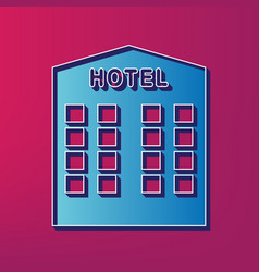 Hotel sign  blue 3d printed icon on vector