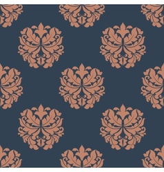 Brown colored on indigo floral seamless pattern vector image