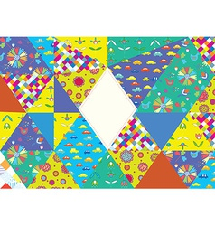 Funny card with pattern set and frame for birthday vector image