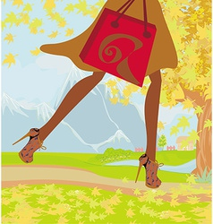 Autumn shopping close-up on shoes and shopping vector